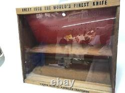 Vintage Wood And Glass Camillus USA Knife Counter Display Case