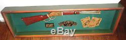 Vintage Wood Carved Winchester Model 1886 Rifle In Display Case 31 ½ x 9 ½