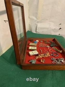 Vintage Wood &Glass Flat Museum or Shop style Display Case, Curios, jewellery