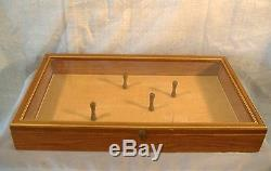 Vintage Wood Glass Wall or Table Top Display Case Cabinet