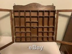 Vintage Wood Shadow Box Hanging Curio Miniature Display Case withGlass Doors