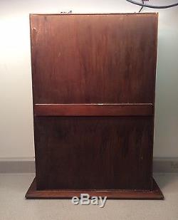 Vintage Wood Wooden Mercantile Display Case Cabinet Glass Front Tabletop Curio