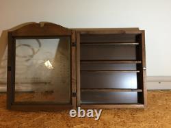 Vintage Wood Wooden Pipe Display Storage Cabinet Case Sherlock Holmes