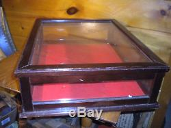 Vintage Wood and Glass DISPLAY CASE with Key