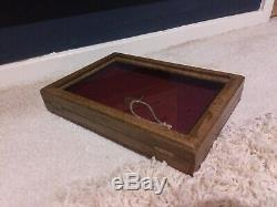 Vintage Wooden Glass Topped Glazed Wood Jewellery Display Box Case