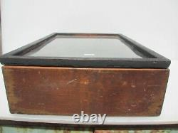 Vintage Wooden Traders Box Antique Old Wood Glass Fronted Display Case 19x13