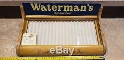 Vintage waterman's 14 kt fountain pen countertop display case