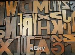 Vintage wood type in black case A-Z complete alphabet. Ready to display. Nice