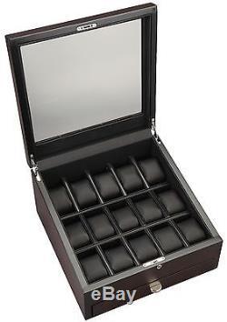 Volta 15 Watch Display Storage Case Mens Box 31-560975 Rustic Brown Wood