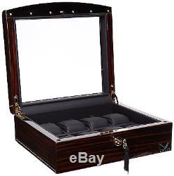 Volta Ebony Wood Black Leather 8 Watch Display Storage Case Mens Box 31-560940