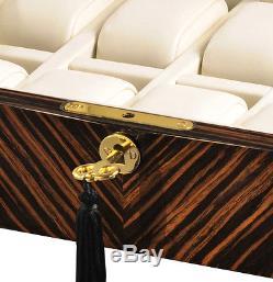 Volta Ebony Wood Cream Leather 10 Watch Case Mens Display Box 31-560932