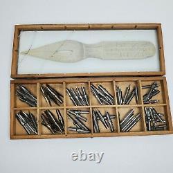 Vtg C. Howard Hunt Pen Co Wood Display Case Box & 115 Assorted Nibs R. Esterbrook