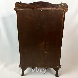 Vtg Curved Glass Dark Brown Wood Small Wall Tabletop Curio Display Case Footed