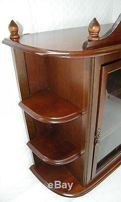 Vtg Huge Glass Wall Curio Display Cabinet Case ShadowBox Walnut Wood Perfume Mid