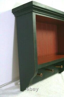 Vtg Wood Wall Hanging Shelf Display Trinket Knick Knack with peg hooks bead board