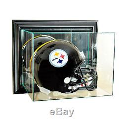 Wall Mount Uv Real Glass Full Size Football Helmet Display Case Black Wood