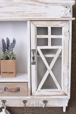 Wall Cabinet Shabby Chic Kitchen Cupboard Hook Display Case Showcase Shelf
