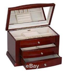 Walnut Jewelry Box Storage Display Chest Case Ring Necklace Organizer, New, Wood