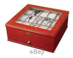 Walnut Watch Lock Box Display Case, 15 Section Wood Storage Holder Organizer New