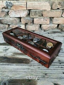 Watch Box 8 Compartments Display Top Glass Wooden Case Lichtenberg Figure