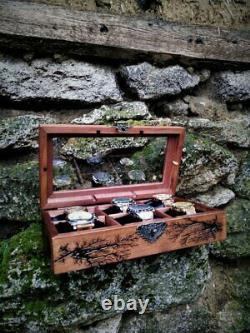 Watch Box Display Glass Top 6 Slot Watch Wood Case Lichtenberg Figure Handmade