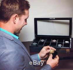 Watch Box, Elegant Wooden Case Organiser w Lock, Glass Display for 12 watches