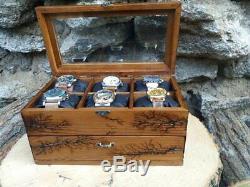 Watch Box Natural Wood 12 Slots Display Top Glass Case Lichtenberg Burned