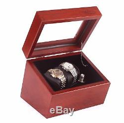 Watch Winder Box Automatic Display Case Storage Wood Rotation Chest Organizer