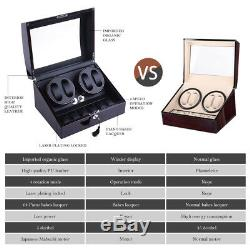 Watch Winder Display Box Automatic Rotation Storage 4+6 Grid Wooden Cases Luxury