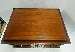 Wood Brass Medal Chest 6 Drawer Coin Case 100 Silver Dollar Display Storage Box