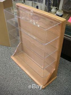 Wood Display Case Clear Acrylic Shelves & Cover 24h x 23w x 8d Shelves 20x7