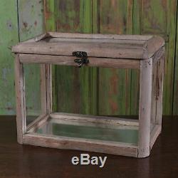Wood Glass Tabletop Display Case Box