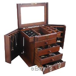 Wood Jewelry Box Organizer Armoire Ring Necklace Display Case Vintage Gift MG002
