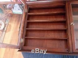Wood and Glass Display Case 34 1/2 x 21 1/4 x 5 3/4 Shelved