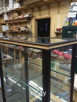 Wood and Glass Model Case/Curio/- Peruvian Walnut w Oak Inlays