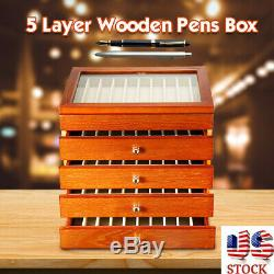 Wooden 50 Pens Box 5 Layer Fountain Pen Display Storage Organize Case Collector