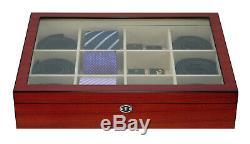 Wooden Tie Box Cherry Wood Belts Men 12 Ties Storage Case Display Organiser 27