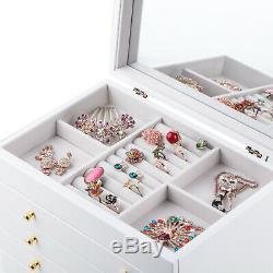 Wooden Vintage Large Jewellery Box Bracelet Rings Storage Organiser Display Case