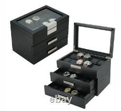 Wrist Watch Oak Wood Storage Display Box Display Case Chest Cabinet 30 Watches